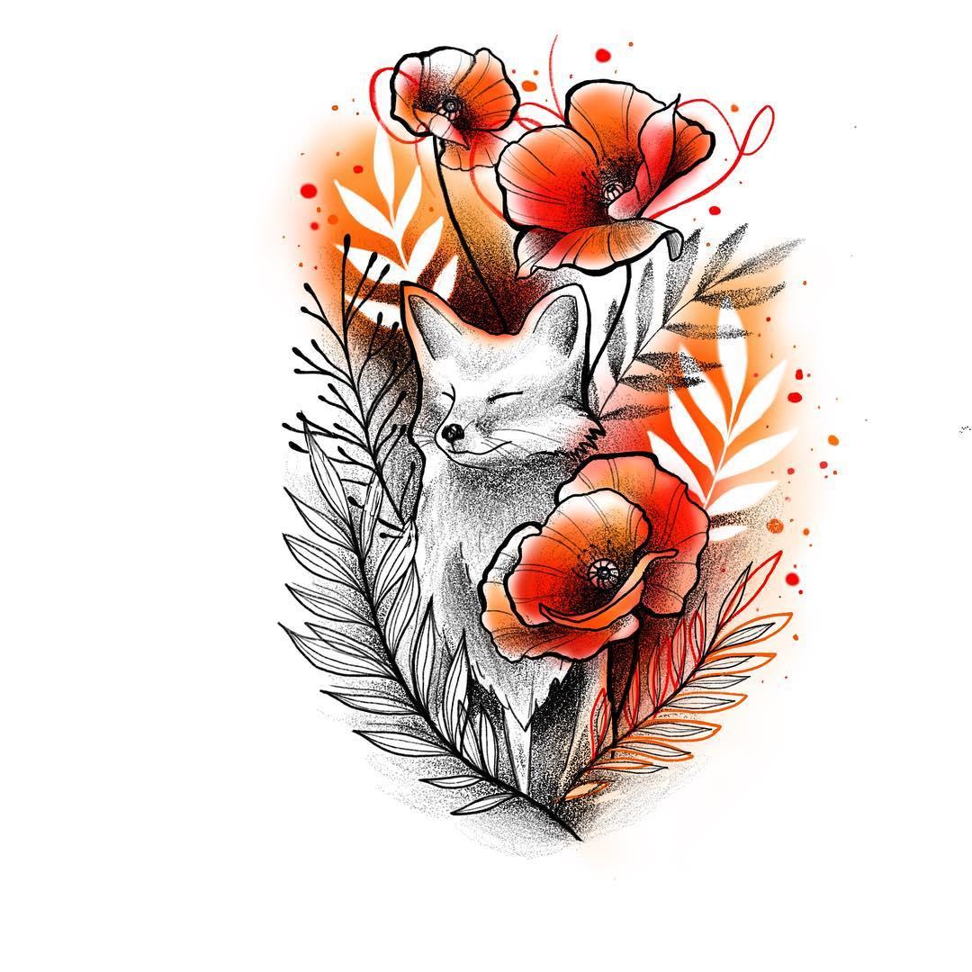 Лиса в Красных Цветах