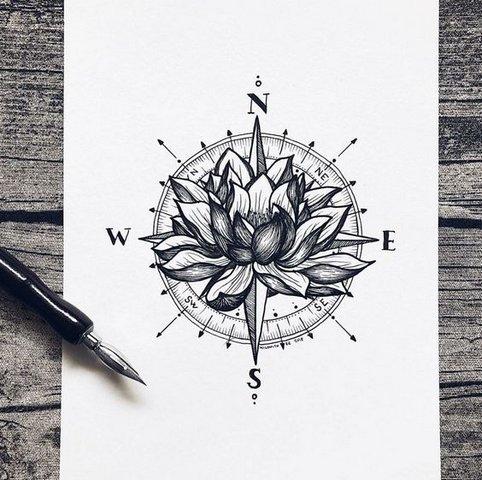 Роза Ветров с Цветком Лотоса