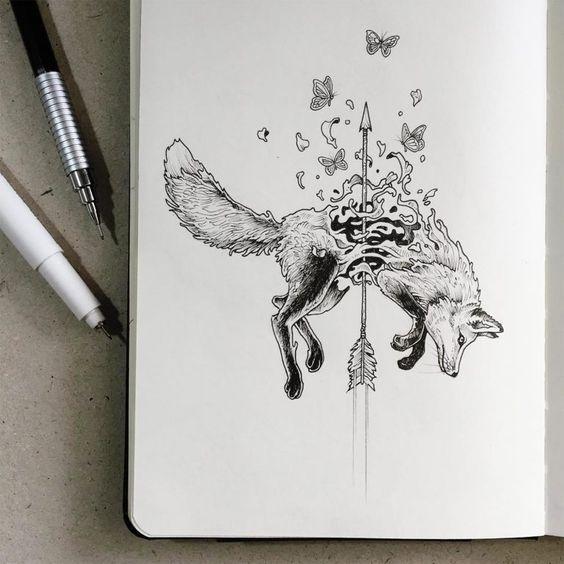 Лиса со Стрелой и Бабочками