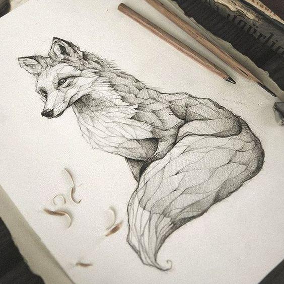 Эскиз Лисы из Дерева