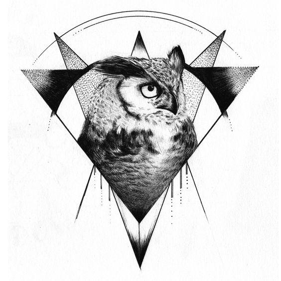 Филин в Геометрической Фигуре