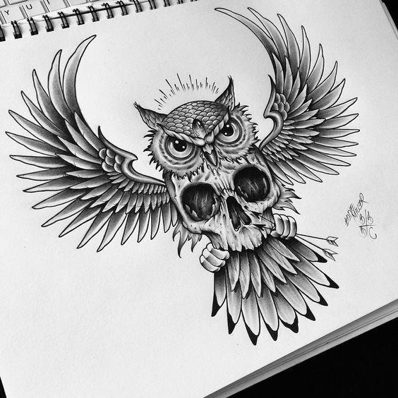 Сова с Раскрытыми Крыльями Черепом и Стрелами
