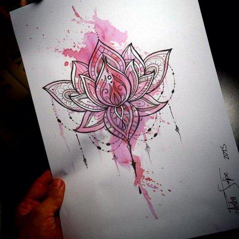 Розовый эскиз Лотоса