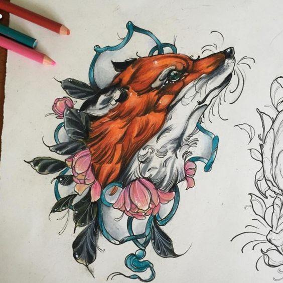 Рисунок Лиса с Цветами
