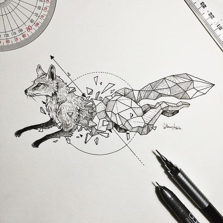 Маленький Эскиз Лиса Геометрия