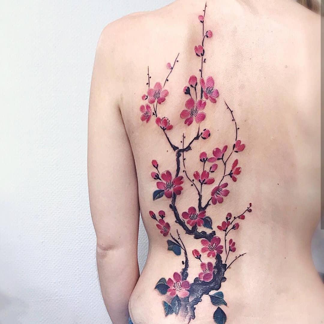Ветка Цветущей Сакуры на Женской Спине