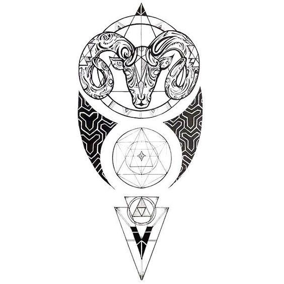 Овен из Узоров в Стиле Геометрия