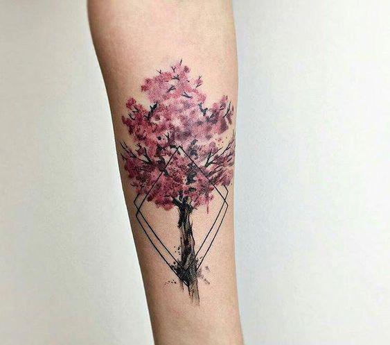 Тату Дерево Сакуры и Линии на Руке