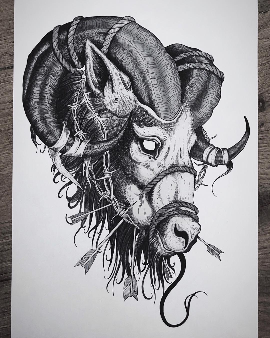 Эскиз Татуировки Раненый Овен