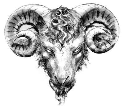 Эскиз Татуировка Овен в Стиле Реализм