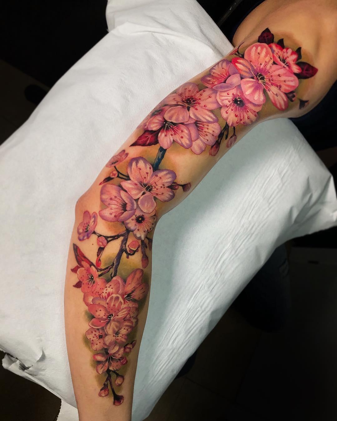 Рукав Сакура с Яркими Цветками
