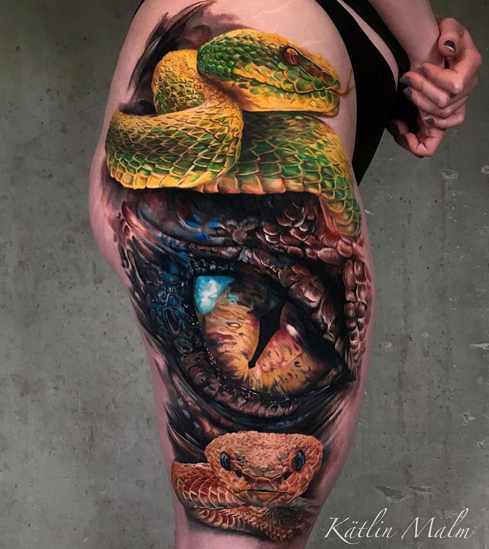 Женская Тату Оранжевый Глаз Дракона и Змеи