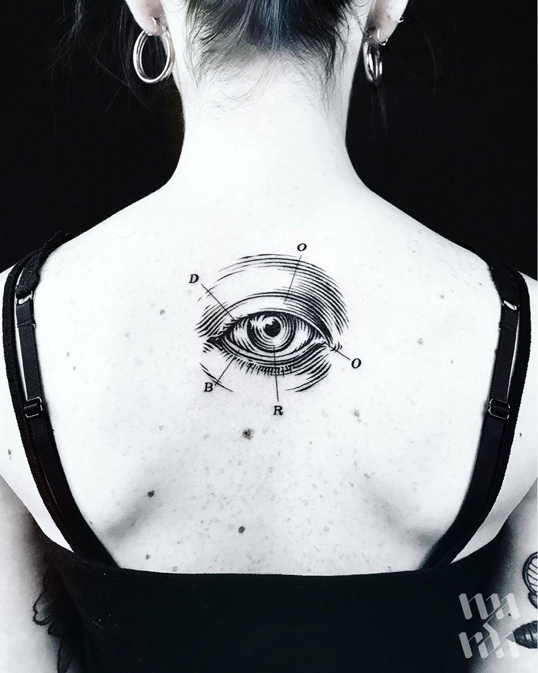 Женская Тату Глаз и Буквы на Спине