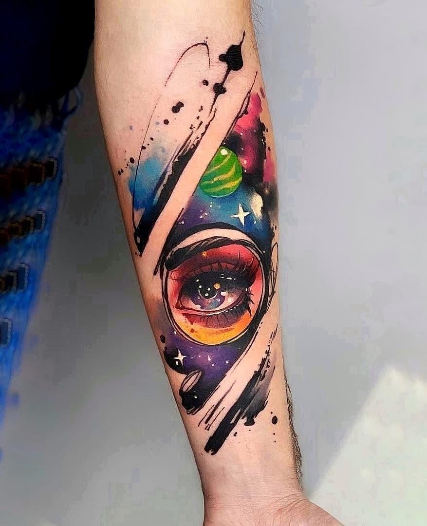 Цветная Тату Космос и Глаз на Предплечье