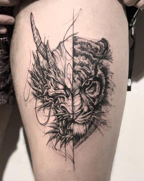 Необычный Рисунок Тигра-Дракона на Ноге