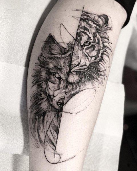Татуировка Волка-Тигра для Мужчин