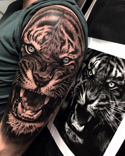 Татуировка Тигра на Плече для Мужчин