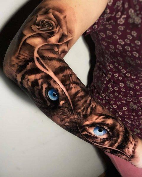 Рисунок Тигра с Цветными Глазами для Парней