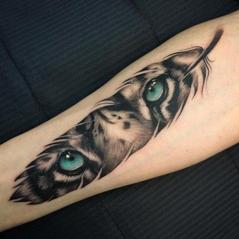 Татуировка Тигра в Форме Пера для Мужчин