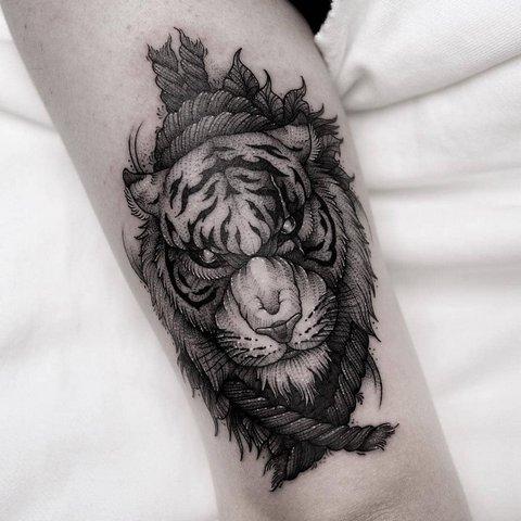 Черно-Белый Рисунок Тигра для Мужчин
