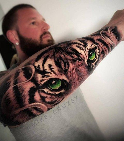 Татуировка Тигра с Ярким Взглядом для Парней