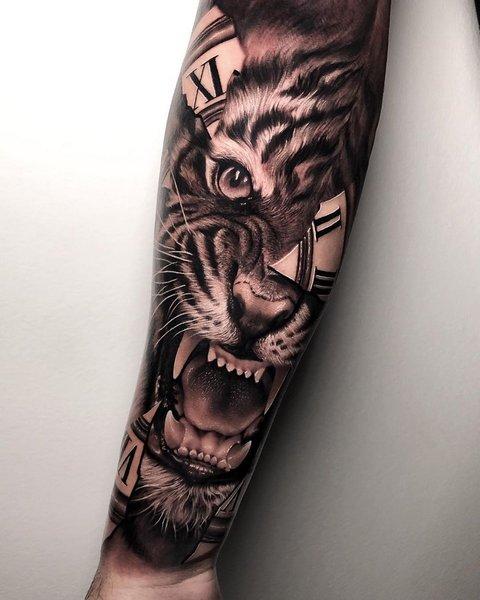 Объемный Рисунок Тигра на Руке для Мужчин