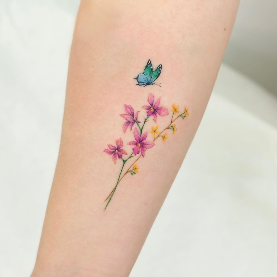 Красивый Рисунок Цветов с Бабочкой для Девушек