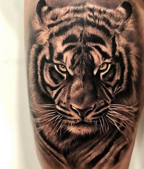 Черно-Белая Татуировка Тигра для Парней