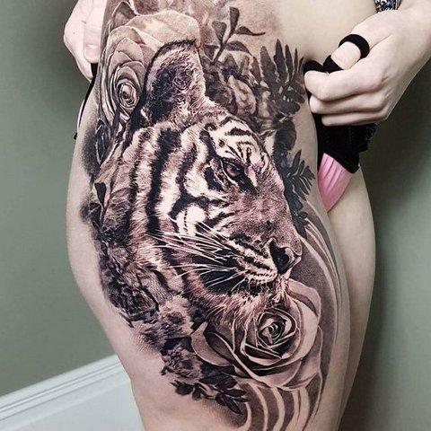 Большая Татуировка Тигра для Мужчин