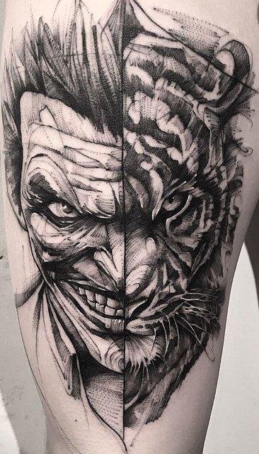Татуировка Тигра-Джокера для Парней