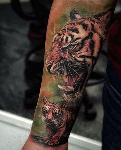 Большая Татуировка с Тигром для Мужчин