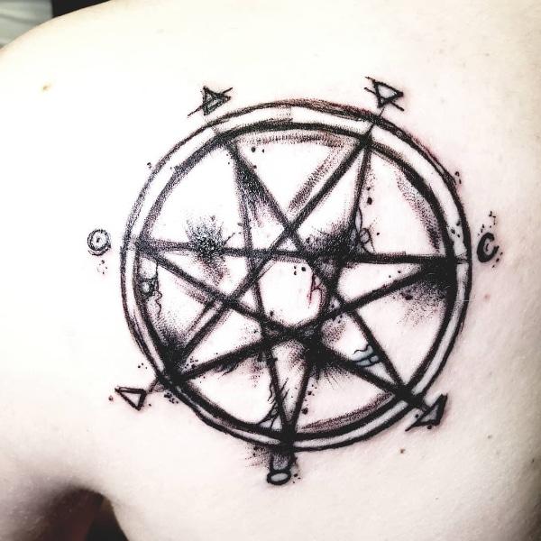 Небольшая Татуировка Семиконечная Звезда