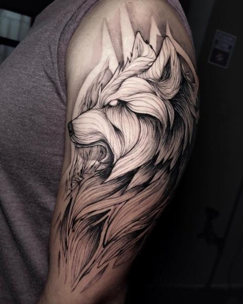 Большая Татуировка Волк